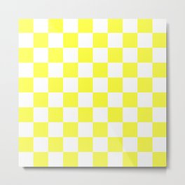 Cheerful Yellow Checkerboard Pattern Metal Print