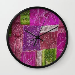 Boho Patchwork Floral Wall Clock