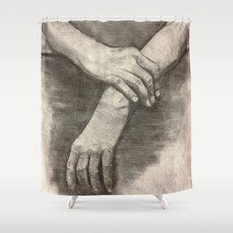 Charcoal Hands - human anatomy Shower Curtain