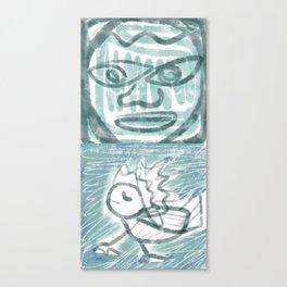 bird and stone face Canvas Print