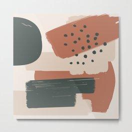 Burnt orange Green and Taupe Brush Strokes Art, 804-1-4 Boho decorative art Metal Print