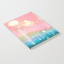 wind turbine in the desert with snow and bokeh light background Notebook