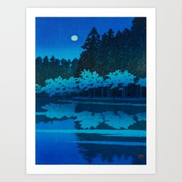 Vintage Japanese Woodblock Print Blue Forest At Night White Moonlight Mystical Trees Art Print