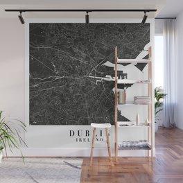 Dublin Ireland Minimal Black Mono Street Map Wall Mural