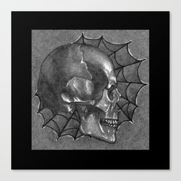 Black Grey and White, American Style Tattoo Skull Canvas Print