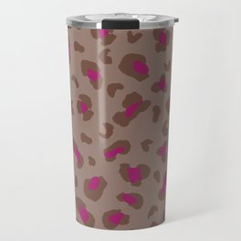 Leopard Animal Print Fuchsia Brown Travel Mug