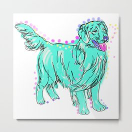 The happy GOLDEN RETRIEVER Love of My Life - your Golden dog keeps you smiling! Metal Print