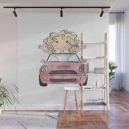 Girl Driving A Car Wall Mural