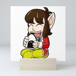 Alex Kidd with Riceball Mini Art Print