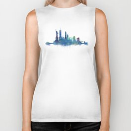 NY New York City Skyline NYC Watercolor art Biker Tank