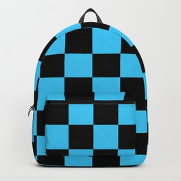 Checkered Pattern: Black & Cool Blue Backpack