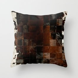 cowhide texture patchwork Throw Pillow