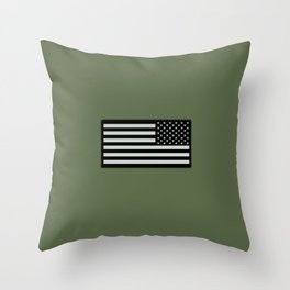 IR U.S. Flag on Military Green Background Throw Pillow