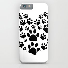 Dog paw print made of heart iPhone Case