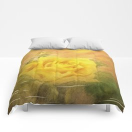 Vintage painting yellow rose Comforters