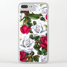 Red & White Roses Clear iPhone Case