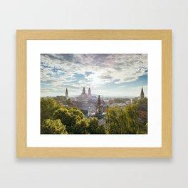 Kaunas old town towers Framed Art Print