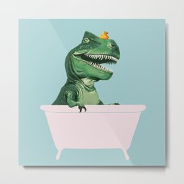 Playful T-Rex in Bathtub in Green Metal Print