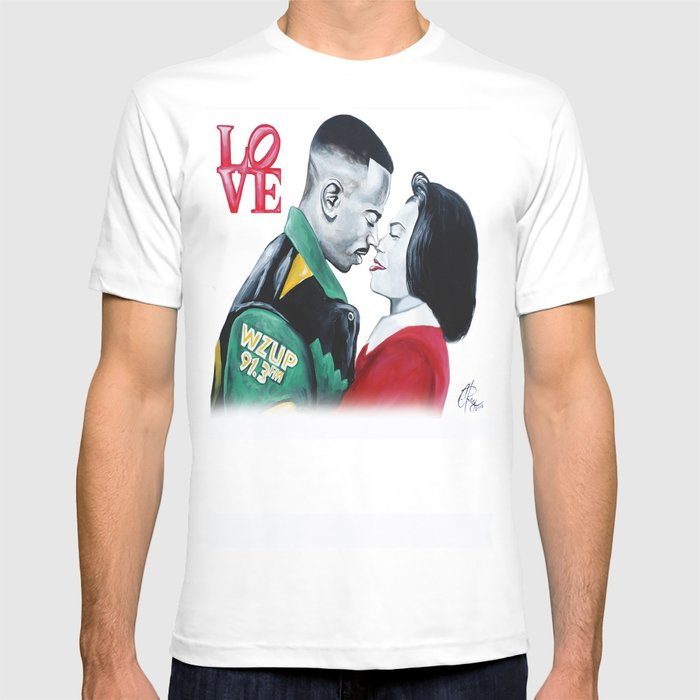 Black Love - Martin & Gina Graphic T-shirt by C-ray Art - White - LARGE - Mens Fitted Tee