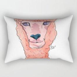 Pink Alpaca Original Illustration Rectangular Pillow