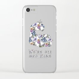 Alice floral designs - Cheshire cat all mad here Clear iPhone Case