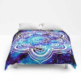 Mandala : Bright Violet & Teal Galaxy Comforters