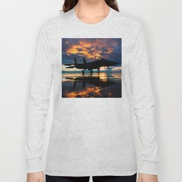 Fighter Jet Airplane at Sunset Military Gifts Long Sleeve T-shirt