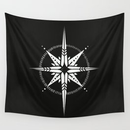 Compass Rose Illustration | White on Black Wall Tapestry