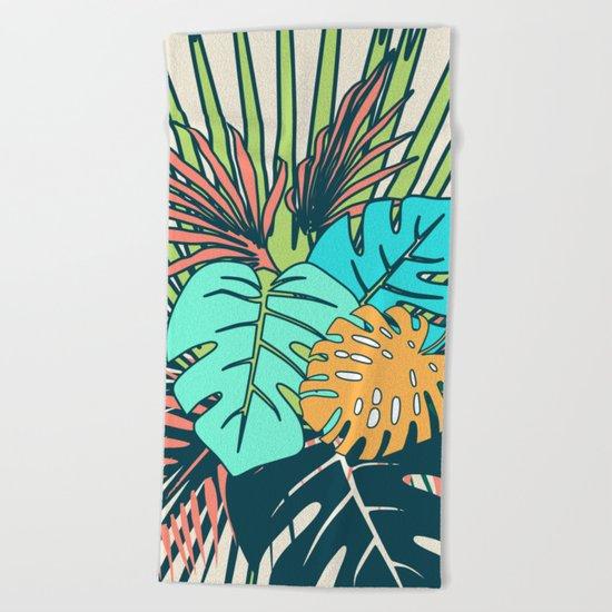 Tropical leaves cream Beach Towel