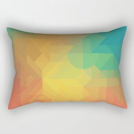 Geometric Pattern // Intricate Detailed Shapes // Gradient Colors (Orange, Yellow, Teal, Green, Red) Rectangular Pillow