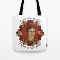 frida Tote Bags featuring FRIDA by badOdds