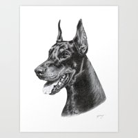 doberman Art Prints featuring Doberman by Danguole Serstinskaja