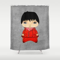 cyberpunk Shower Curtains featuring A Boy - Kaneda (Akira) by Christophe Chiozzi