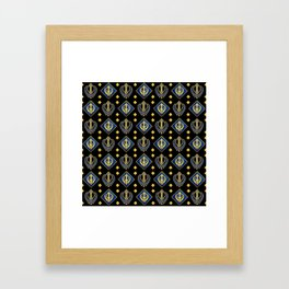 Gold and Lapis Lazuli Khanda symbol pattern Framed Art Print