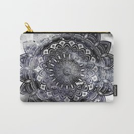 Galaxy Space Mandala (Black and White & Gray Scale) Mystical Adventurous Carry-All Pouch