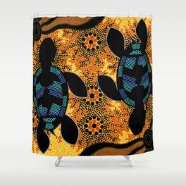 Sea Turtles - Authentic Aboriginal Art Shower Curtain
