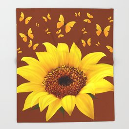 COFFEE BROWN YELLOW SUNFLOWER & BUTTERFLIES Throw Blanket
