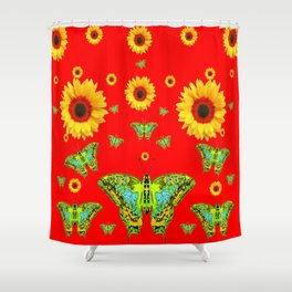 RED COLOR YELLOW SUNFLOWERS GREEN MOTHS Shower Curtain