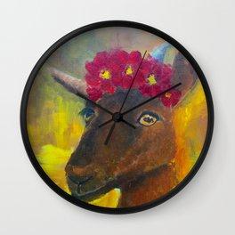 Goat Wearing Flowers Wall Clock