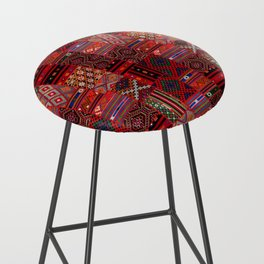 N246 - Red Oriental Berber Traditional Boho Moroccan Collage Bar Stool