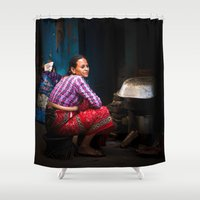 cooking Shower Curtains featuring Cooking, Kathmandu, Nepal by Julian Bound