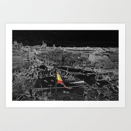Madrid in black and white from cibeles Art Print