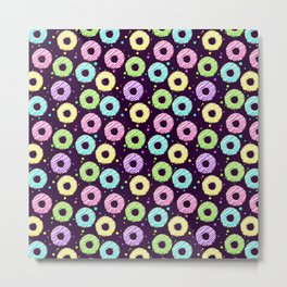 delicious donuts with multi-colored icing on a dark background. cartoon donuts Metal Print