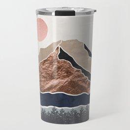 Mount Hood // Daylight Art Print Oregon Stratovolcano Rose Gold Silver Blue Cream Black Mountain Travel Mug
