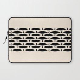 Midcentury Modern Minimalist Fish Stripe Pattern in Black and Almond Cream Laptop Sleeve