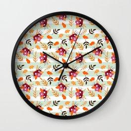 Fall Pattern Blue Striped Floral Wall Clock