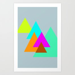 Triangles - neon color scheme series no. 2 Art Print