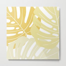 Pastel yellow monstera deliciosa Metal Print