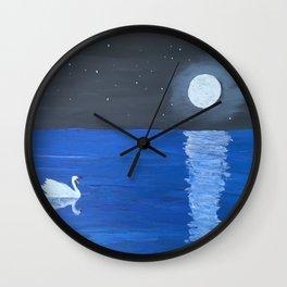 Moonlit Swan Wall Clock