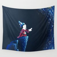 mickey Wall Tapestries featuring Sorcerer Mickey by Sierra Christy Art